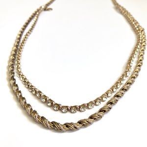 J. CREW gold rope wrapped chain & crystal necklace
